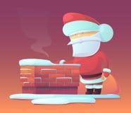 Vectorillustratie van Santa Claus dichtbij schoorsteen Royalty-vrije Stock Foto's