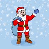 Vectorillustratie van Santa Claus met giften Stock Foto