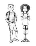 Vectorillustratie van schoolkinderen, jongen en meisje Stock Foto's