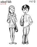 Vectorillustratie van schooltienerjaren, jongen en meisje Stock Foto