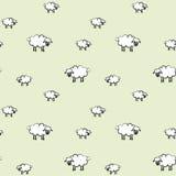 Vectorillustratie van sheepspatroon; groene achtergrond Royalty-vrije Stock Fotografie
