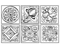 Vectorillustratie van Siciliaanse aardewerkkrabbels geplaatst zwart-wit Ornamenten die op witte achtergrond worden geïsoleerd dec royalty-vrije illustratie