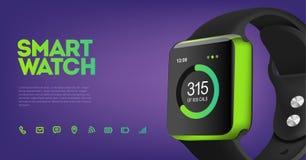 Vectorillustratie van slim horloge Stock Afbeelding