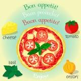 Vectorillustratie van smakelijke pizza Stock Foto's