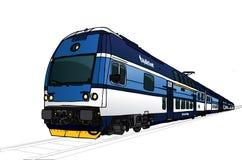 Vectorillustratie van snelle trein in perspectief Stock Foto