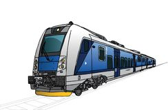 Vectorillustratie van snelle trein in perspectief royalty-vrije illustratie