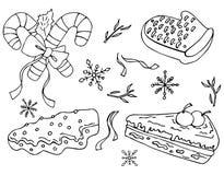 Vectorillustratie van snoepjesreeks De stijl van de krabbel royalty-vrije illustratie