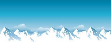 Vectorillustratie van snowcapped bergen van Himalayagebergte stock illustratie