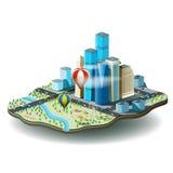 Vectorillustratie van stad met wolkenkrabbers, pretpark, ca Stock Afbeeldingen