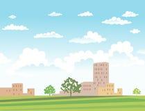 Vectorillustratie van stedelijk landschap Stock Foto's