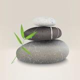 Vectorillustratie van stenen met bamboeblad Stock Foto