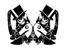 Vectorillustratie van Sugar Skull-meisjes Stock Afbeeldingen