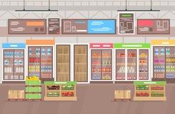 Vectorillustratie van supermarktbinnenland Grote winkelsupermarkt met partij van goederen, vruchten en groenten Het winkelen stock afbeeldingen