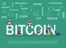 Vectorillustratie van tekst Bitcoin met jongeren die laptops met behulp van en smartphones Stock Fotografie