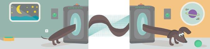 Vectorillustratie van teleport, tekkel, vensters, planeten, een kom en een bal Stock Afbeeldingen