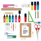 Vectorillustratie van terug naar Schoollevering De levering van de school stock illustratie