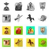 Vectorillustratie van Texas en geschiedenisembleem Inzameling van Texas en de vectorillustratie van de cultuurvoorraad royalty-vrije illustratie