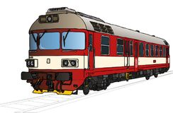 Vectorillustratie van trein in perspectief royalty-vrije illustratie