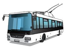 Vectorillustratie van trolleybus Stock Afbeeldingen
