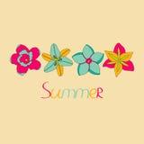 Vectorillustratie van tropische bloemenn kleur Vector Illustratie