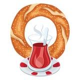 Vectorillustratie van Turkse Ongezuurd broodje en Thee stock illustratie