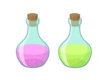 Vectorillustratie van twee flessen Stock Afbeelding