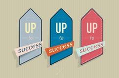 Vectorillustratie van uitstekende etiketten met succestekst Stock Foto's
