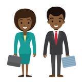 Vectorillustratie van van de afro Amerikaanse zakenman en onderneemster karakterswi Royalty-vrije Stock Foto's