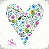 Vectorillustratie van van de waterverf bloemenhart en tekst liefde Kleurrijk bloemenhart Liefde of de lentekaart Stock Afbeeldingen