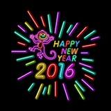 Vectorillustratie van van het het jaaroverzicht van 2016 nieuwe het neonlichtachtergrond voor Ontwerp, Website, Banner Het Elemen Royalty-vrije Stock Foto