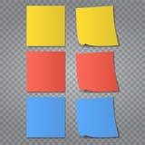 Vectorillustratie van veelkleurige die post-itnota's op transparante achtergrond worden geïsoleerd Stock Fotografie