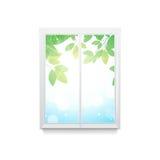 Vectorillustratie van venster   met verlof Royalty-vrije Stock Afbeeldingen