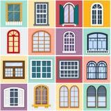 Vectorillustratie van venstersreeks Stock Afbeelding