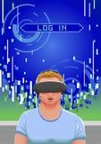 Vectorillustratie van verbaasde kerel die virtuele wereld ervaren die vr hoofddeksel gebruiken Royalty-vrije Stock Afbeelding