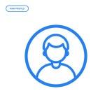 Vectorillustratie van vlak lijn mannelijk pictogram Grafisch ontwerpconcept mensenprofiel Stock Foto's