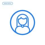 Vectorillustratie van vlak lijn vrouwelijk pictogram Grafisch ontwerpconcept vrouwenprofiel Royalty-vrije Stock Afbeeldingen