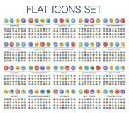 Vectorillustratie van 500 vlakke dunne het Webpictogrammen van de lijnkleur royalty-vrije illustratie