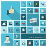 Vectorillustratie van vlakke kleurenpictogrammen met lang schaduw fot sociaal media netwerk Royalty-vrije Stock Foto