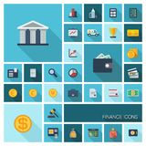 Vectorillustratie van vlakke kleurenpictogrammen met lange schaduw voor financiën en bankwezen Stock Afbeelding