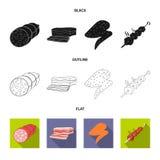 Vectorillustratie van vlees en hamsymbool Reeks van vlees en kokend vectorpictogram voor voorraad vector illustratie