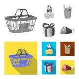 Vectorillustratie van voedsel en drankembleem Inzameling van voedsel en opslagvoorraadsymbool voor Web stock illustratie
