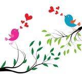 Vectorillustratie van vogels op boom Royalty-vrije Stock Afbeelding