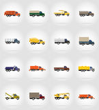 Vectorillustratie van vrachtwagen de vlakke pictogrammen Stock Afbeelding