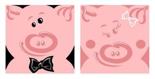 Vectorillustratie van vrolijk gelukkig gezicht van varkens stock illustratie