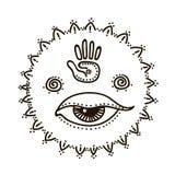 Vectorillustratie van vrouwelijk en allen die oogsymbool en heilige meetkunde zien stock illustratie
