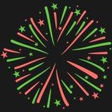 Vectorillustratie van Vuurwerk op Zwarte Achtergrond Stock Fotografie