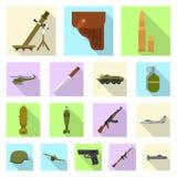 Vectorillustratie van wapen en kanonteken Inzameling van wapen en legervoorraad vectorillustratie vector illustratie