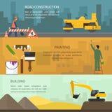 Vectorillustratie van wegenbouw, het schilderen Royalty-vrije Stock Foto