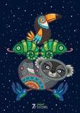 Vectorillustratie van wild totemdier koala Royalty-vrije Stock Foto