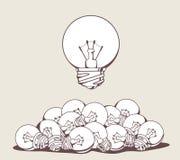 Vectorillustratie van witte grote lightbulb boven stapel royalty-vrije stock foto